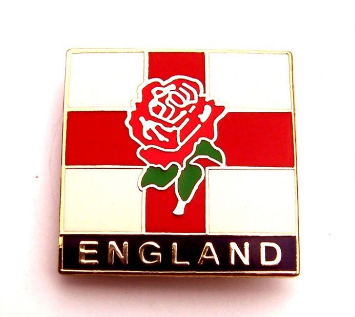 England Badge with Rose and Flag Patriotic Design